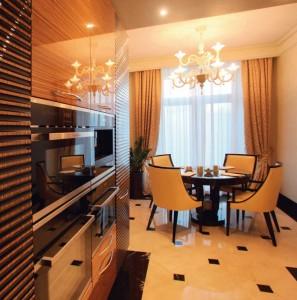 Вариант кухни-столовой в элитных апартаментах